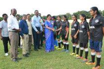 R.Vikraman Director, HR, NLCIL kick starts Women Foot Ball Tournament