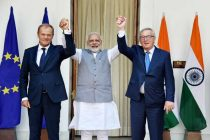 PM, Narendra Modi with the President, European Council, Donald Franciszek Tusk and the President, European Commission,