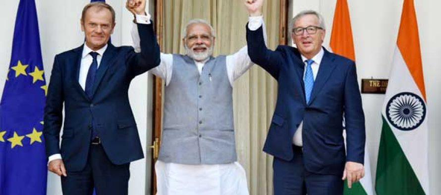 PM, Narendra Modi with the President, European Council, Donald Franciszek Tusk and the President, European Commission,