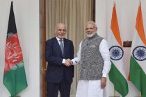 Prime Minister, Narendra Modi with the President of Afghanistan, Dr. Mohammad Ashraf Ghani, at Hyderabad House