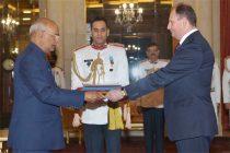 Ambassador-Designate of Moldova, Gheorghe Leuca presenting his credentials to the President, Ram Nath Kovind,