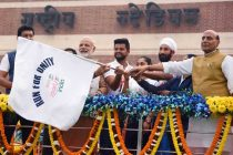 The Prime Minister, Narendra Modi flagging off the Run For Unity, on the Rashtriya Ekta Diwas