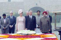 King and Queen of Belgium paying homage at the Samadhi of Mahatma Gandhi, at Rajghat, in Delhi on November 07, 2017.