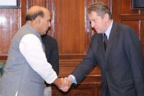 The Russian Ambassador to India, Nikolay Rishatovich Kudashev calling on the Union Home Minister, Rajnath Singh