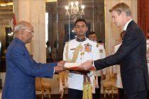 The Ambassador-Designate of Swedem, Klas Molin presenting her credentials to the President, Ram Nath Kovind
