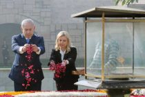 The Prime Minister of Israel, Mr. Benjamin Netanyahu paying floral tributes at the Samadhi of Mahatma Gandhi,