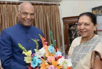 Smt. Anandiben Patel, Governor- Designate of Madhya Pradesh, called on the President of India, Shri Ram Nath Kovind at Gandhinagar Raj bhavan, Gujarat on January 21, 2018.