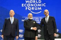 Prime Minister, Narendra Modi with the President of the Swiss Confederation, Alain Berset and the Chairman of the World Economic Forum, Professor Klaus Schwab