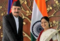 Sushma meets Prachanda in Nepal