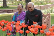 President of India, Ram Nath Kovind and the First Lady of India, Savita Kovind walking around at Mughal Garden