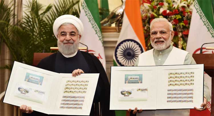 The Prime Minister, Shri Narendra Modi and the President of the Islamic Republic of Iran, Dr. Hassan Rouhani releasing the commemorative stamp celebrating India-Iran relations, at Hyderabad House, in New Delhi on February 17, 2018.