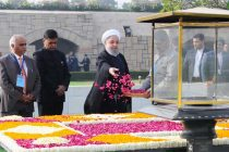President of the Islamic Republic of Iran, Dr. Hassan Rouhani paying floral tributes at the Samadhi of Mahatma Gandhi