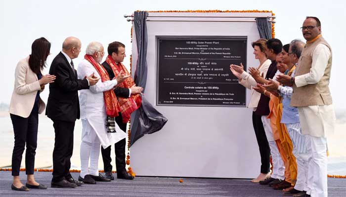 The Prime Minister, Shri Narendra Modi and the President of the French Republic, Mr. Emmanuel Macron jointly inaugurated the Solar Power Plant, at Mirzapur, Uttar Pradesh on March 12, 2018.