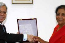 Raksha Mantri Nirmala Sitharaman and Permanent Secretary (Defence), Republic of Singapore Chan Yang Kit