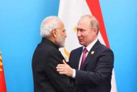 The Prime Minister, Narendra Modi with the President of Russian Federation, Vladimir Putin
