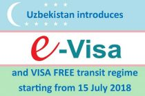Uzbekistan introduces E-VISA and VISA FREE transit regime starting from 15 July 2018