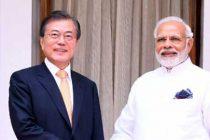 Prime Minister, Narendra Modi meeting the President of the Republic of Korea, Moon Jae-in