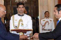 Ambassador-designate of the Republic of EI Salvador, Ariel Andrade Galindo presenting his credentials to the President, Ram Nath Kovind
