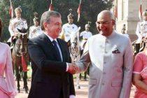 President of India, Ram Nath Kovind, receives Shavkat Miromonovich Mirziyoyev, President of the Republic of Uzbekistan