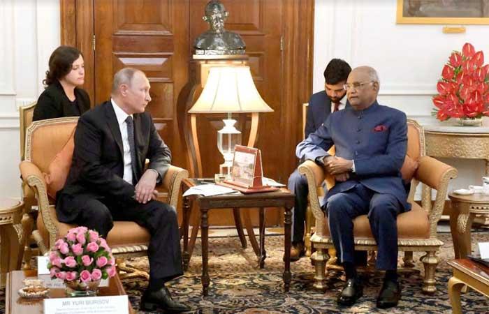 Vladimir Putin, President of the Russian Federation called on the President of India, Shri Ram Nath Kovind at Rashtrapati Bhavan, New Delhi on 05-10-18.