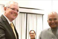 Scott Morrison, Prime Minister of Australia, calling on The President of India, Ram Nath Kovind