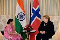 Sushma Swaraj calls on Norwegian PM