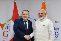 The Prime Minister, Narendra Modi meeting the Prime Minister of Denmark Lars Lokke Rasmussen
