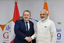 The Prime Minister, Narendra Modi meeting the Prime Minister of Denmark Lars Lokke Rasmussen