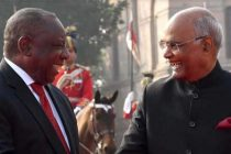 President of India, Ram Nath Kovind, receives Matamela Cyril Ramaphosa, the President of the Republic of South Africa