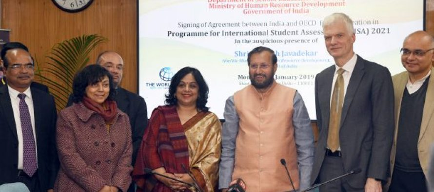 India and OECD sign agreement to enable India's participation in Programme for International Students Assessment (PISA) to be held in 2021
