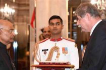The Ambassador-designate of Montenegro, Zoran Jankovic presenting his credential to the President of India, Ram Nath Kovind