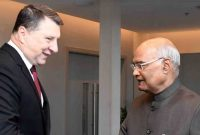 The President of India, Ram Nath Kovind, meeting with Raimonds Vcjonis, the President of the Republic of Latvia