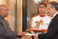 The Ambassador-designate of the Colombia, Alvaro Sandoval Bernal presenting his credentials to the President, Ram Nath Kovind