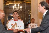 The Ambassador-designate of Germany, Walter Johannes Lindner presenting his credentials to the President, Ram Nath Kovind