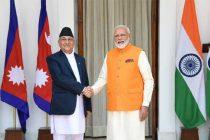 The Prime Minister, Narendra Modi meeting the Prime Minister of Nepal, K.P. Sharma Oli