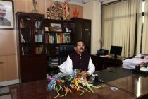 Shripad Yesso Naik taking charge as the Minister of State for AYUSH (Independent Charge)