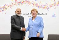 The Prime Minister, Narendra Modi meeting the German Chancellor, Dr. Angela Merkel