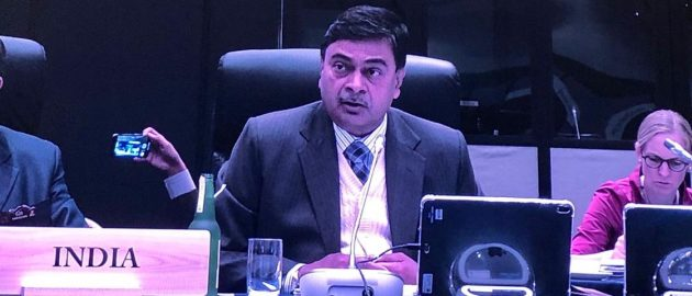 Union Power Minister R K Singh addressing the G20 Ministerial Meeting on Energy  & Environment.