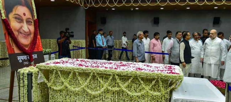 Swaraj's body being shifted to BJP headquarters