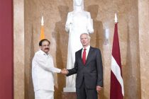 The Vice President, M. Venkaiah Naidu at a meeting with the Prime Minister of the Republic of Latvia, Krisjanis Kariņs