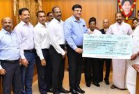 Edapadi K. Palanisamy, Chief Minister of Tamil Nadu receiving  a cheque for Rs. 12,03,42,310 as Dividend from NLC Tamil Nadu Power Limited