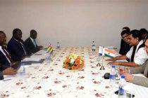 The Minister of State for Power, New & Renewable Energy (IC) and Skill Development & Entrepreneurship, Raj Kumar Singh in a bilateral meeting with the Minister of Energy and Mines, Togo, Marc Dederiwe Ably- Bidamon
