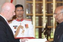 The Ambassador-designate of Denmark, Freddy Svane presenting his credentials to the President, Ram Nath Kovind