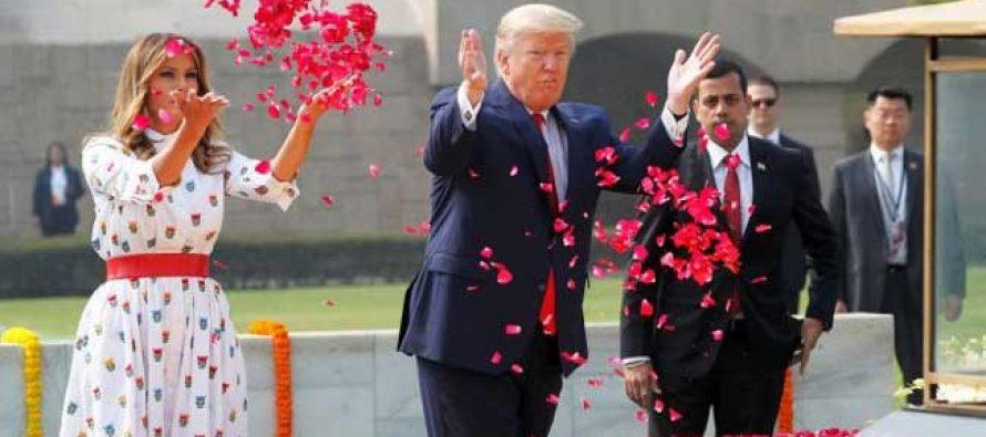 Trump pays homage to Gandhi at Raj Ghat