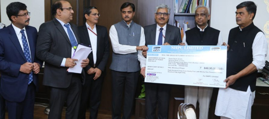 NHPC pays interim dividend of Rs. 840.96 cr to GOI