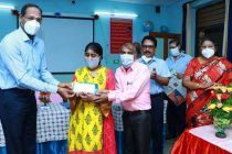 Honouring of Visually Impaired student who scored high marks in CBSE Board exam, by Director/HR, NLCIL