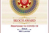 REC bags SKOCH Award for 'Response To Covid'