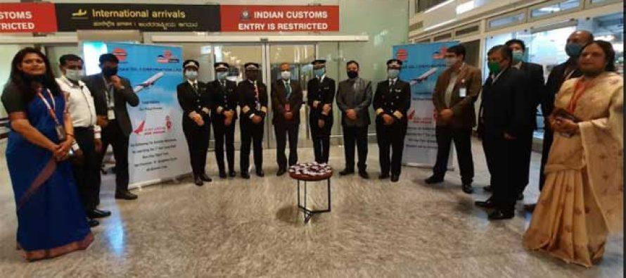 IndianOil Aviation fuels the historic Air India flight from San Francisco at Bengaluru