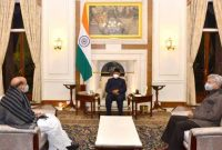 Rajnath Singh, Minister of Defence and Dr S. Jaishankar, Minister of External Affairs, called on the President of India, Ram Nath Kovind