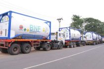 Liquid Medical Oxygen from Singapore sourced by IndianOil unloaded in Vizag Port